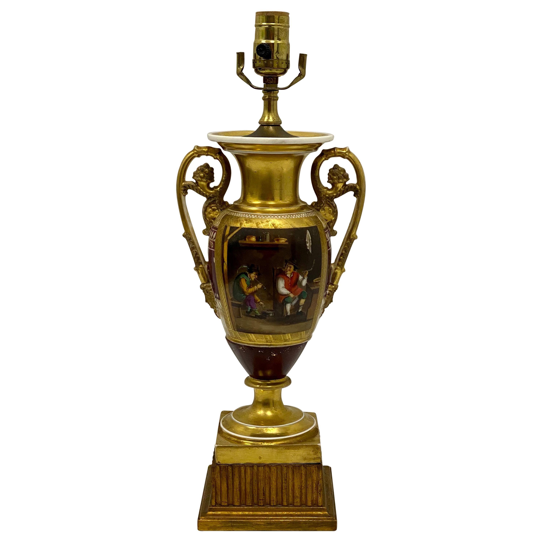 Antique French Old Paris Porcelain Lamp