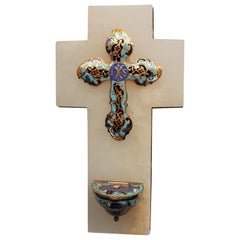 Antique French Onyx and Cloissoné  Benetier (Holy Water Font) circa 1880-1890