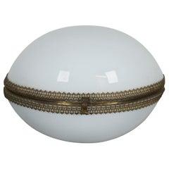 Antique French Opaline Glass Bronze Egg Hinged Trinket Jewelry Keepsake Box