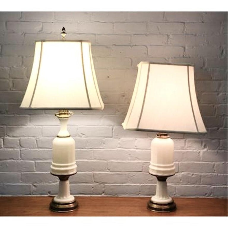 Antique French Opaline milk glass Ormolu white table lamp, 19th century. Tiffany shade in first image not included.