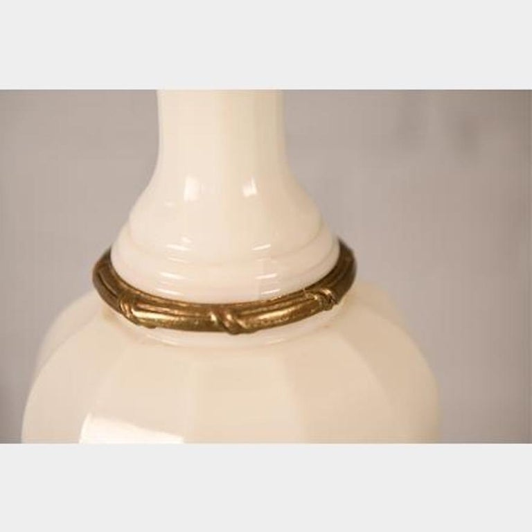 20th Century Antique French Opaline Milk Glass Ormolu White Table Lamp For Sale