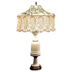 Antique French Opaline Milk Glass Ormolu White Table Lamp