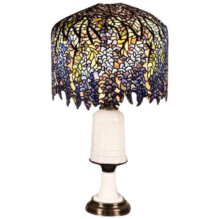 Antique French Opaline Milk Glass Ormolu White Table Lamp For Sale
