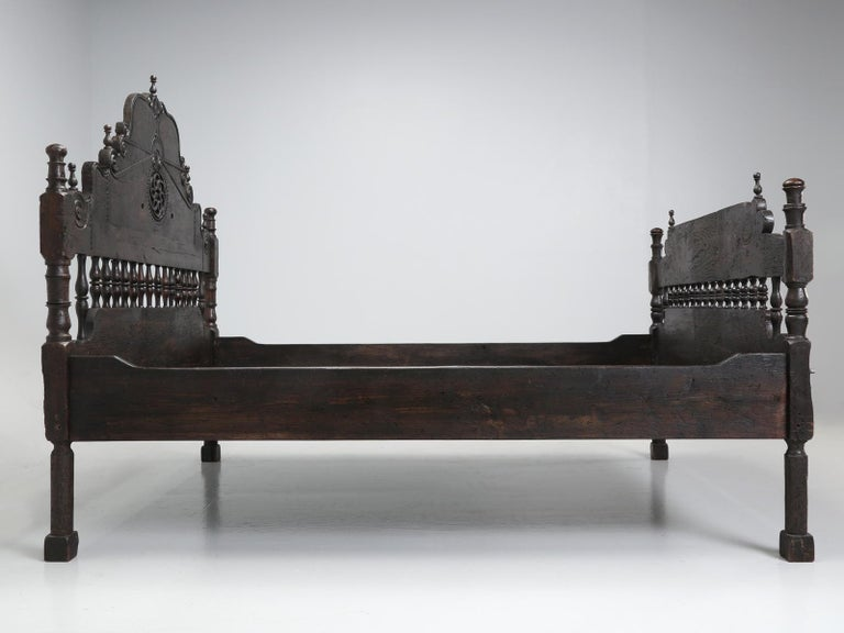 Hand-Carved Antique French or Spanish Colonial Style Bed, Converted to a Queen Size Bed For Sale