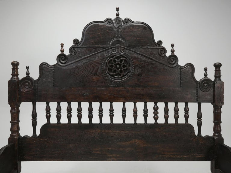 Antique French or Spanish Colonial Style Bed, Converted to a Queen Size Bed In Good Condition For Sale In Chicago, IL