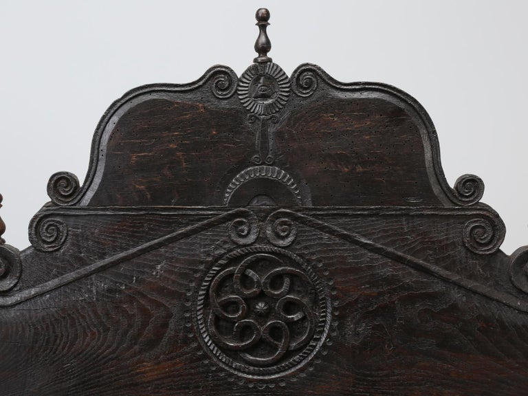 Oak Antique French or Spanish Colonial Style Bed, Converted to a Queen Size Bed For Sale