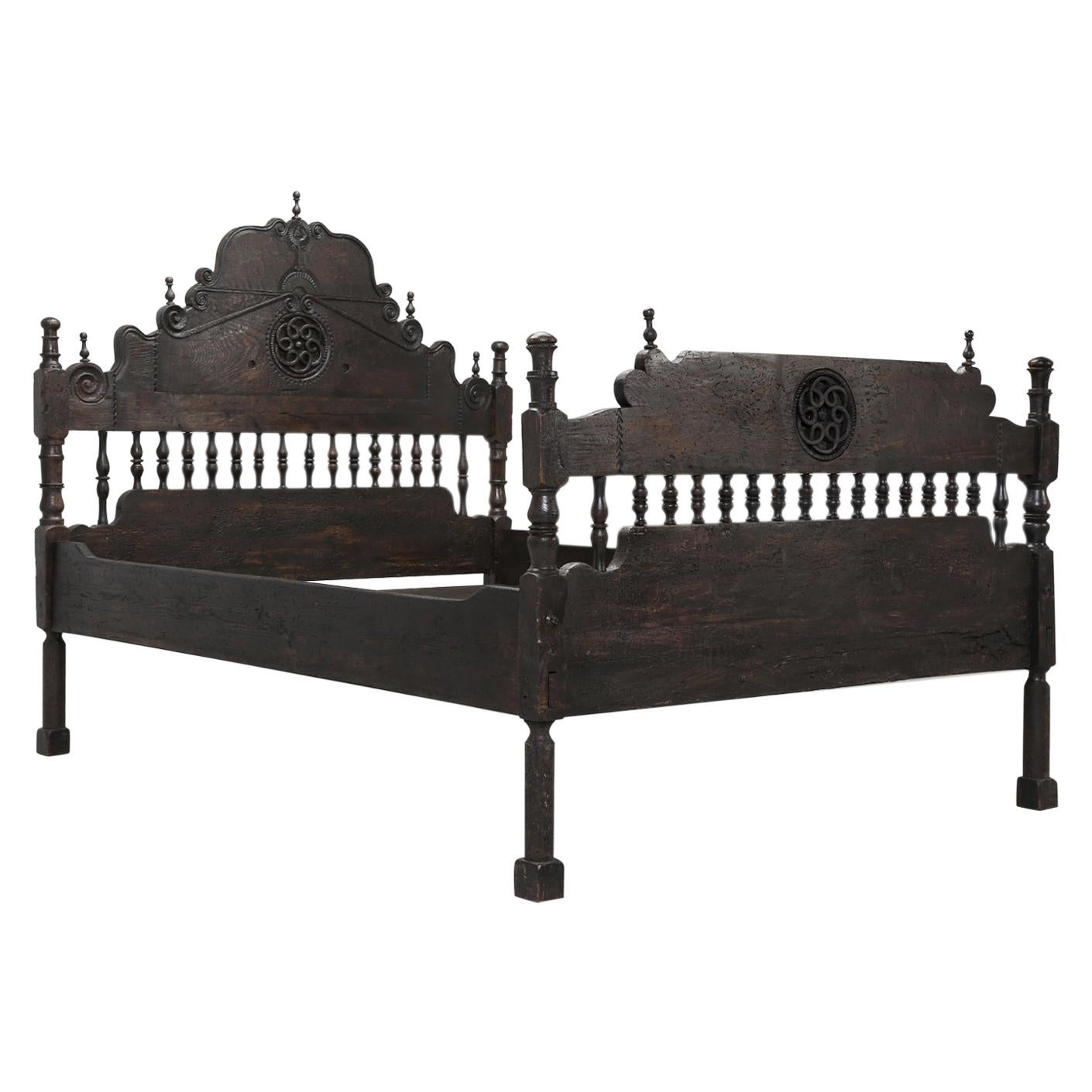 Antique French or Spanish Colonial Style Bed, Converted to a Queen Size Bed