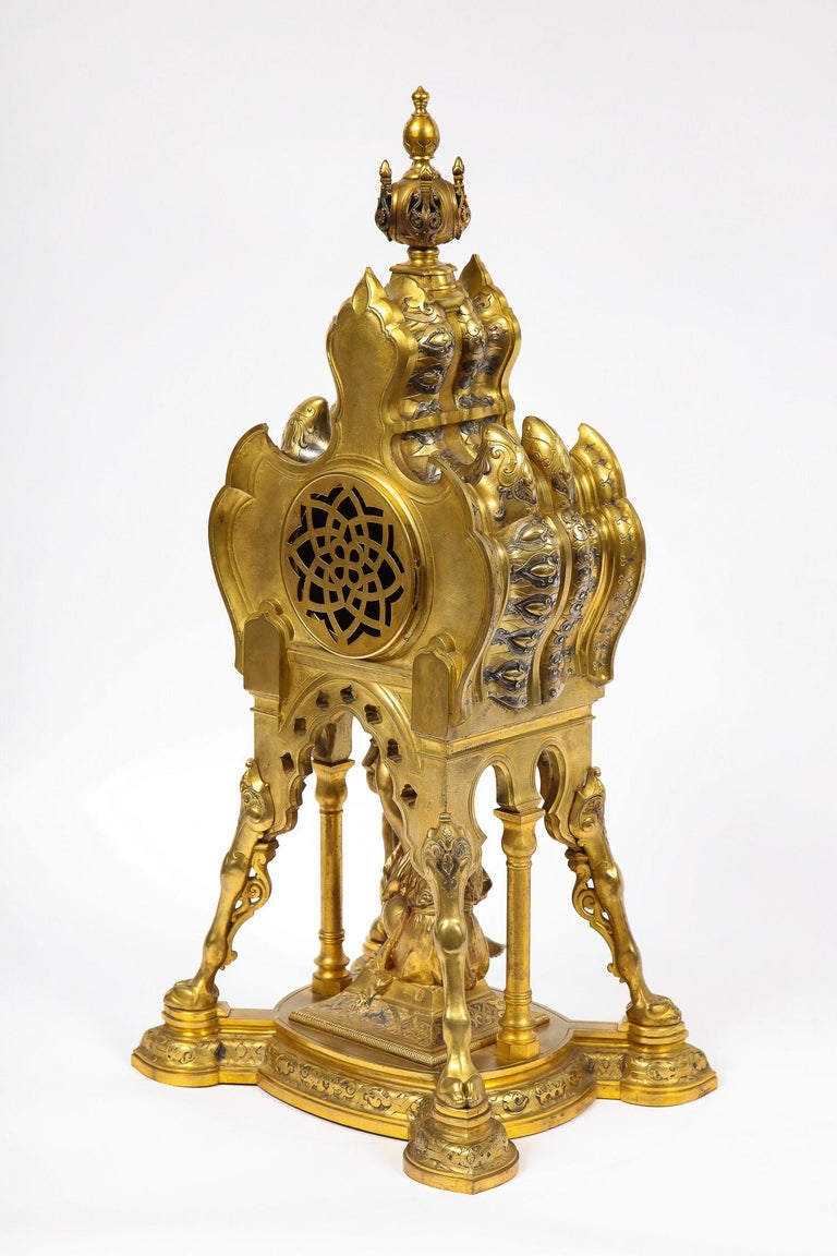 Antique French Orientalist/Moorish Silver/Gilt Bronze and Enamel Figural Clock For Sale 7