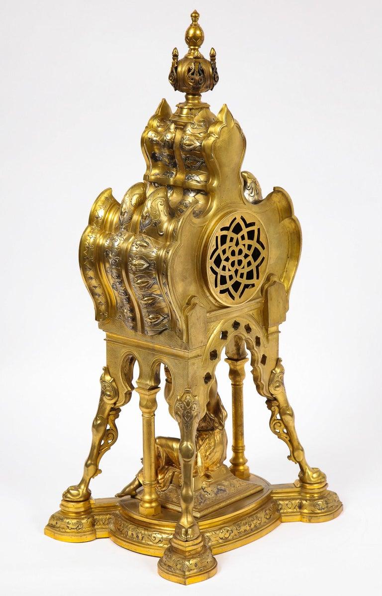 Antique French Orientalist/Moorish Silver/Gilt Bronze and Enamel Figural Clock For Sale 9