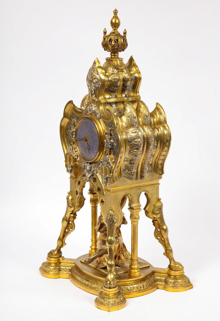 Antique French Orientalist/Moorish Silver/Gilt Bronze and Enamel Figural Clock For Sale 11
