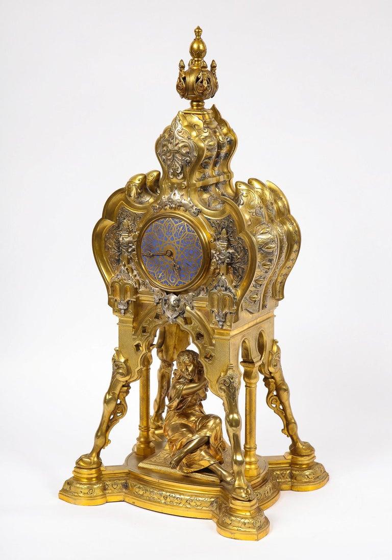 Antique French Orientalist/Moorish Silver/Gilt Bronze and Enamel Figural Clock For Sale 12