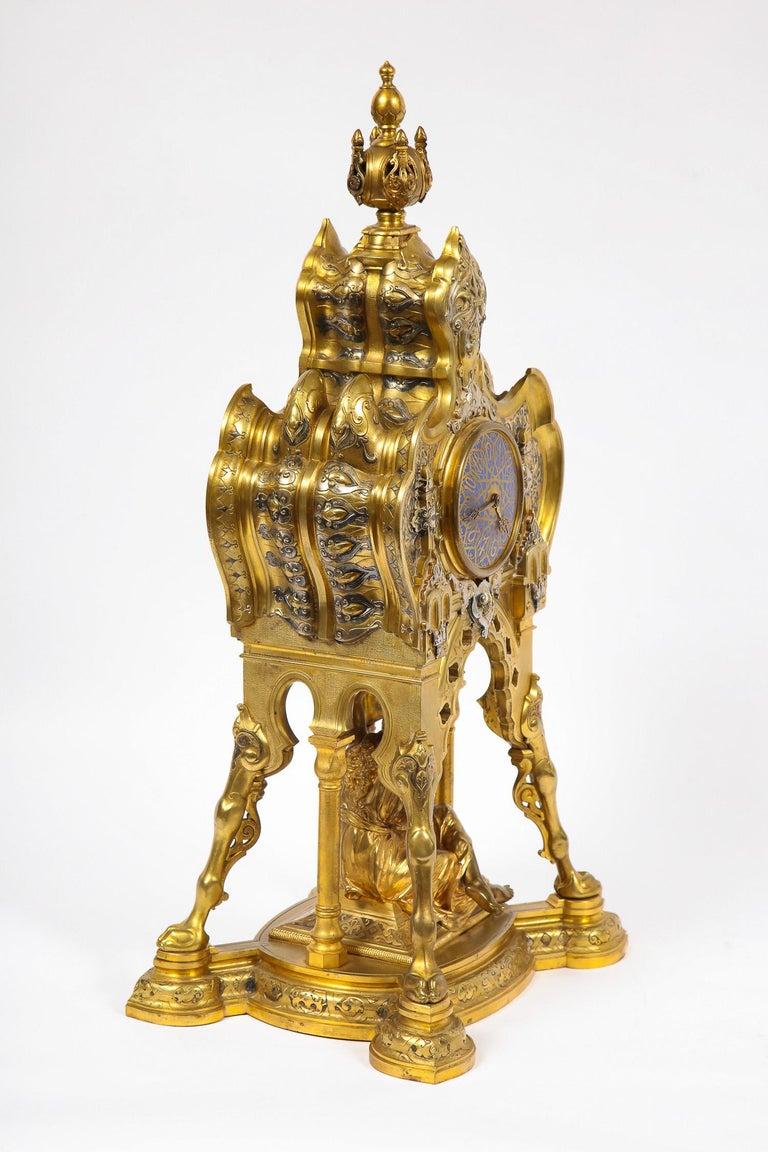 Antique French Orientalist/Moorish Silver/Gilt Bronze and Enamel Figural Clock For Sale 4