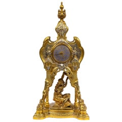 Antique French Orientalist/Moorish Silver/Gilt Bronze and Enamel Figural Clock