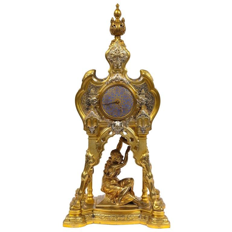 Antique French Orientalist/Moorish Silver/Gilt Bronze and Enamel Figural Clock For Sale