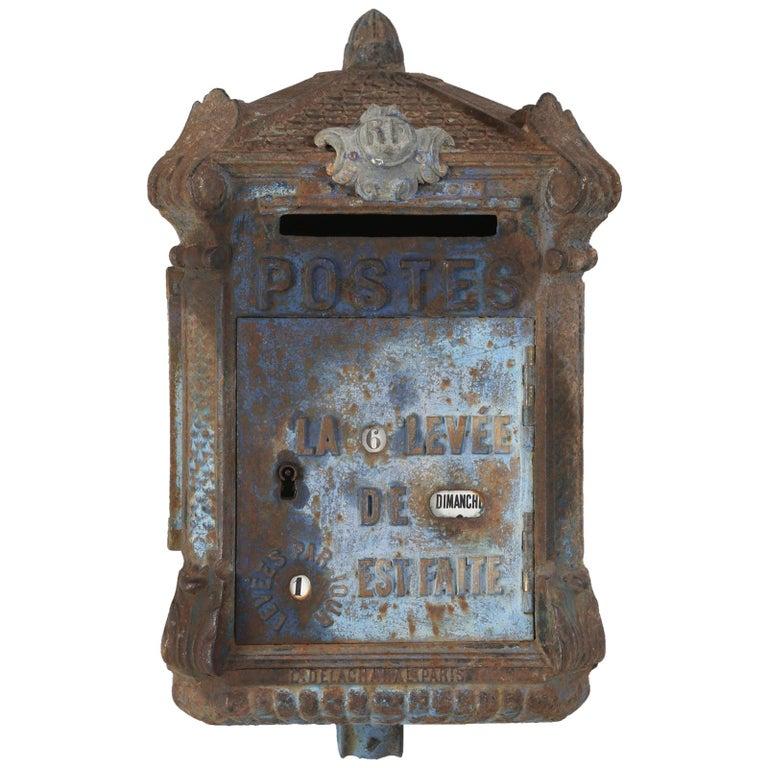 Antique French Original Paint Mailbox By Delachanal Paris