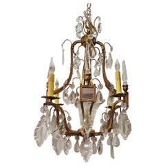 Antique French Ormolu and Baccarat Crystal Chandelier with Mirror Insets