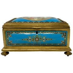 Antique French Ormolu and Blue Enameled Box, circa 1870