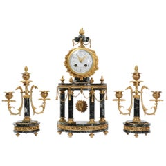 Antique French Ormolu and Green Marble Portico Clock Set