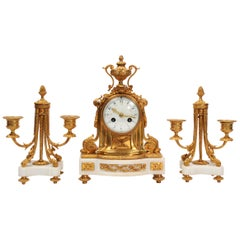 Antique French Ormolu and Marble Boudoir Clock Set by Vincenti