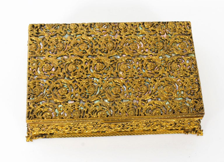 Antique French Ormolu and Mother of Pearl Casket, 19th Century For Sale 5