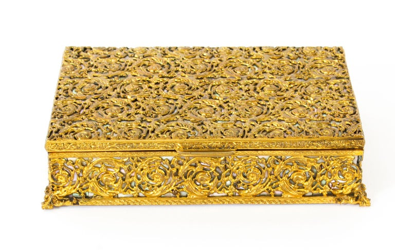 Antique French Ormolu and Mother of Pearl Casket, 19th Century For Sale 7