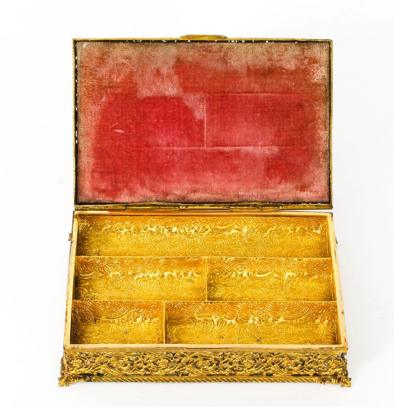Late 19th Century Antique French Ormolu and Mother of Pearl Casket, 19th Century For Sale