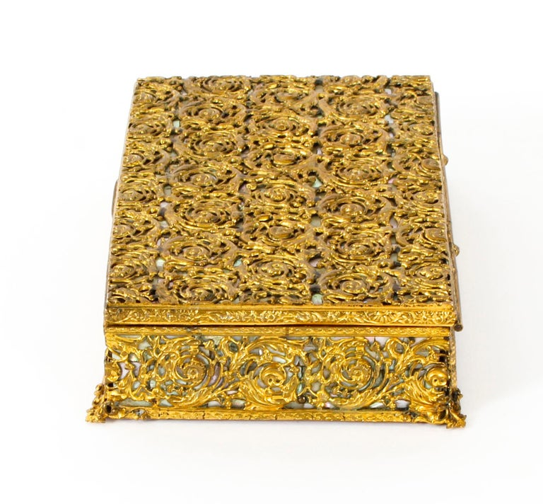 Antique French Ormolu and Mother of Pearl Casket, 19th Century For Sale 2