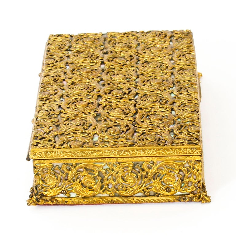 Antique French Ormolu and Mother of Pearl Casket, 19th Century For Sale 3