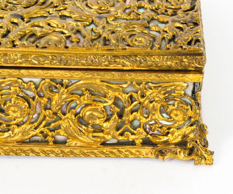 Antique French Ormolu and Mother of Pearl Casket, 19th Century For Sale 4