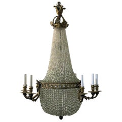Antique French Ormolu and Richly Beaded Chandelier