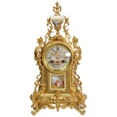 Antique French Ormolu and Sevres Porcelain Clock, Love