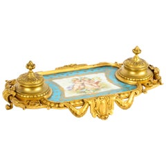 Antique French Ormolu and Sèvres Porcelain Standish Inkstand, 19th Century