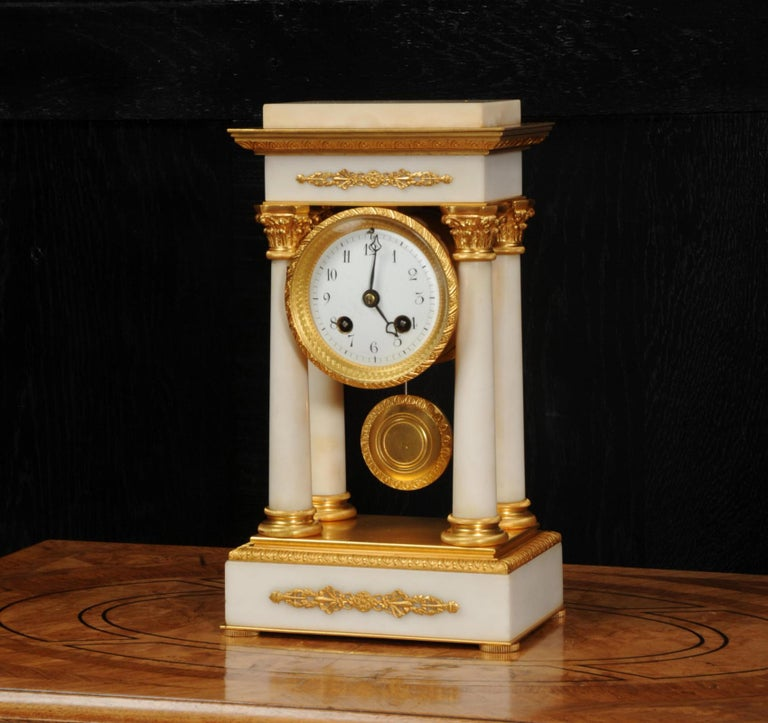 Antique French Ormolu and White Marble Portico Clock For Sale 5