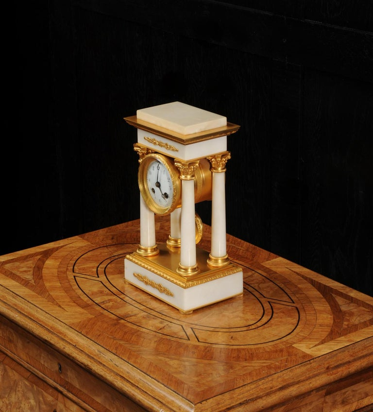 Antique French Ormolu and White Marble Portico Clock For Sale 7