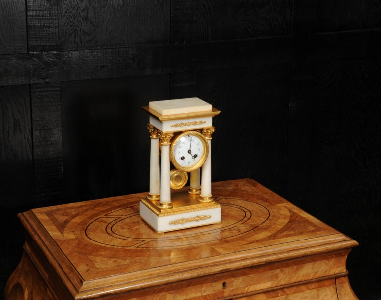 Antique French Ormolu and White Marble Portico Clock For Sale 8
