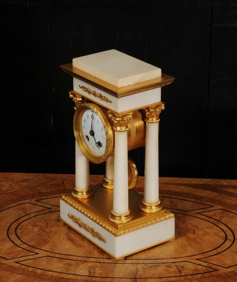 Antique French Ormolu and White Marble Portico Clock For Sale 9