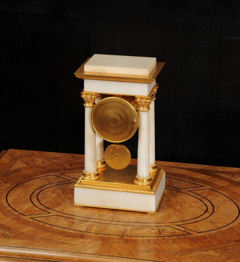 Antique French Ormolu and White Marble Portico Clock For Sale 10