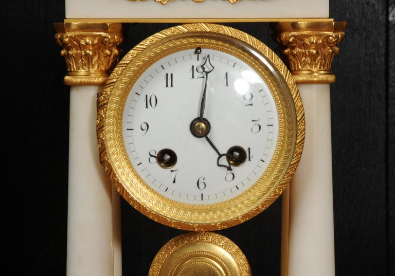 Antique French Ormolu and White Marble Portico Clock For Sale 11