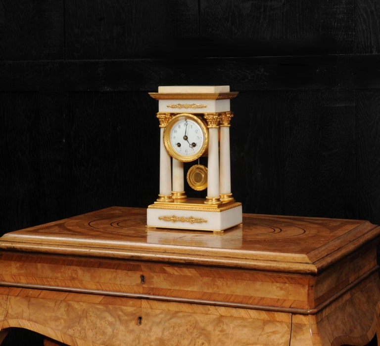 Antique French Ormolu and White Marble Portico Clock In Good Condition For Sale In Belper, Derbyshire