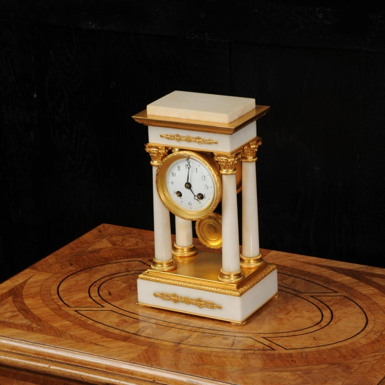 Antique French Ormolu and White Marble Portico Clock For Sale 1