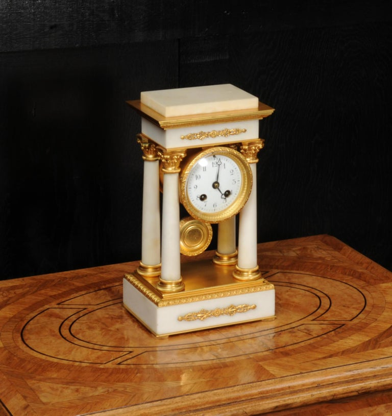 Antique French Ormolu and White Marble Portico Clock For Sale 2