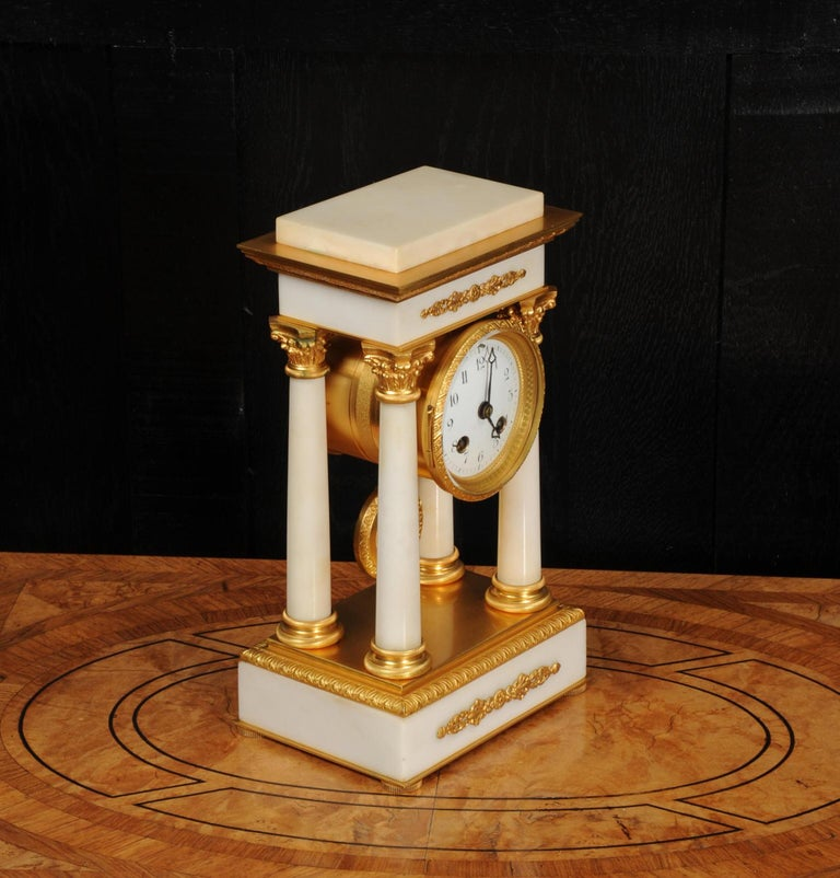 Antique French Ormolu and White Marble Portico Clock For Sale 3