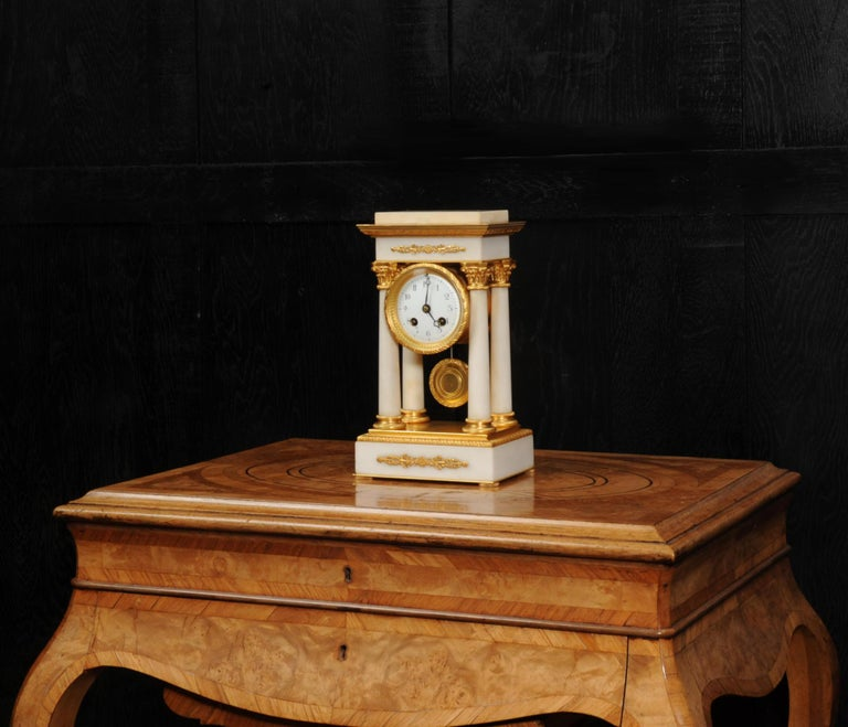 Antique French Ormolu and White Marble Portico Clock For Sale 4