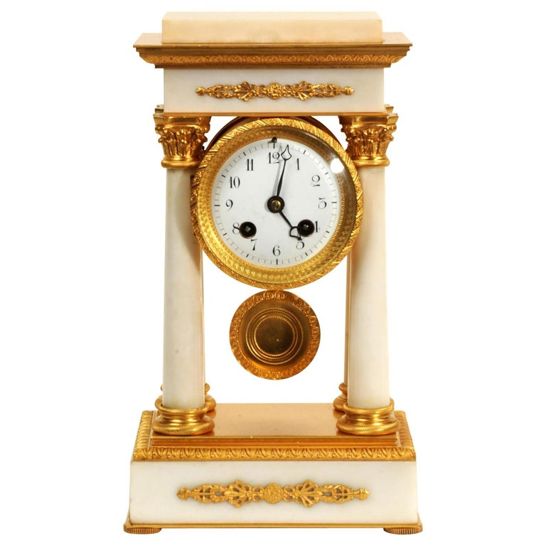 Antique French Ormolu and White Marble Portico Clock For Sale
