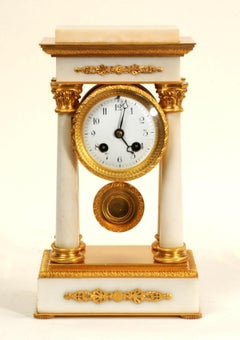 Antique French Ormolu and White Marble Portico Clock