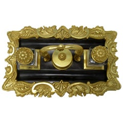 Antique French Ormolu Bronze Desk Set Encrier Inkwell Art Nouveau Grand Tour