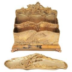 Antique French Ormolu Bronze Desk Set
