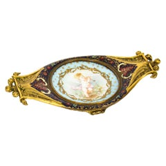 Antique French Ormolu and Champlevé Enamel Pin Tray, 19th Century
