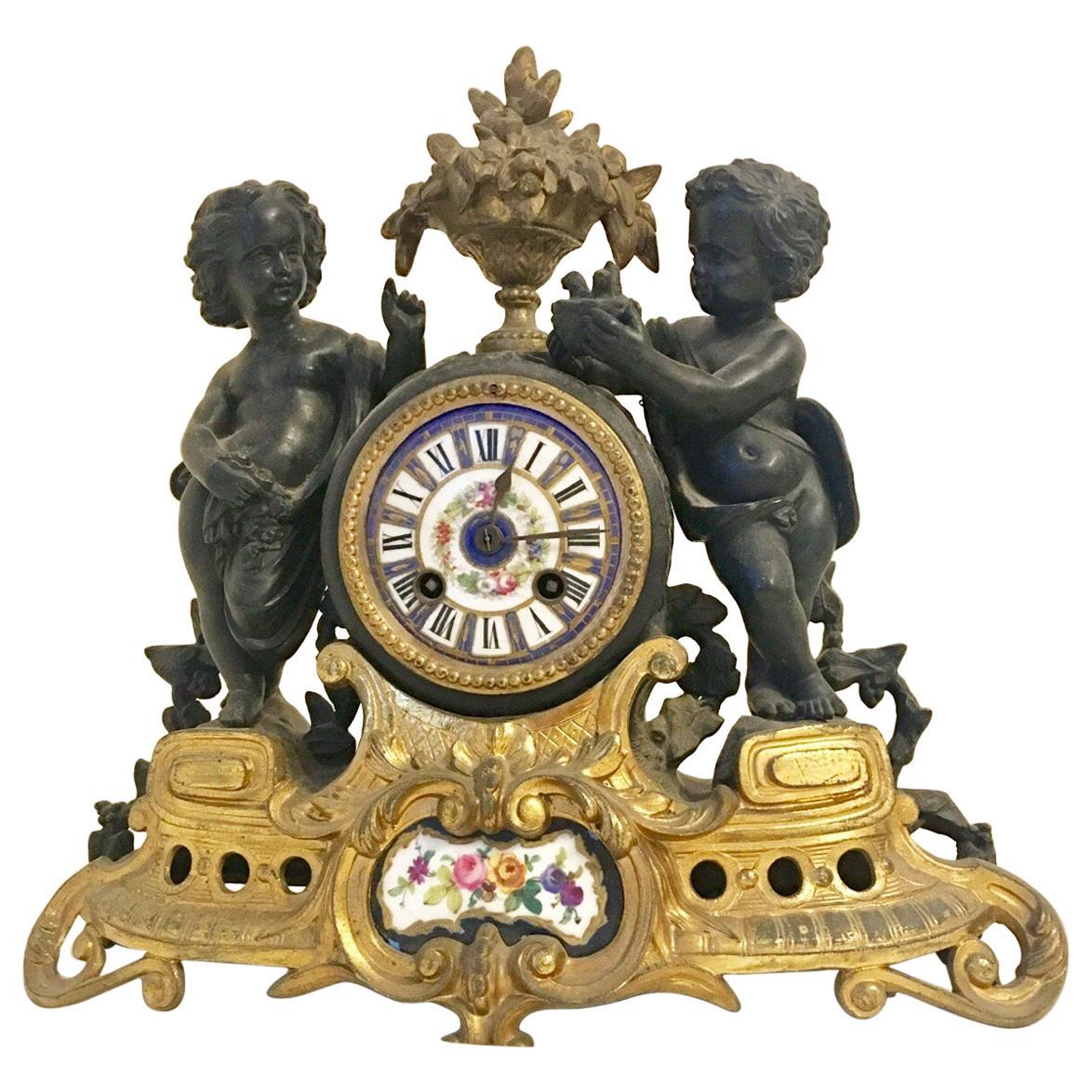 Antique French Ormolu Cherub Striking Mantel Clock