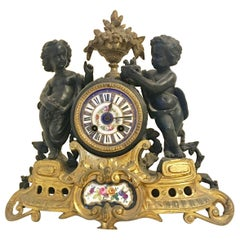 Antique French Ormolu Cherub Striking Mantel Clock